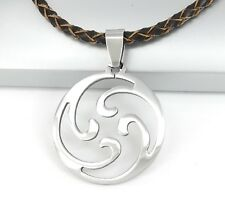 Silver Spiral Ocean Wave Pendant Braided Brown Leather Choker Surfer Necklace