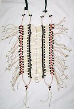 LARGE NATIVE INDIAN STYLE BONE BREAST CHEST PLATE black & RED beads LEATHER new