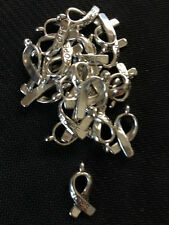 Antique Silver ribbon of hope pendant / charms x 20