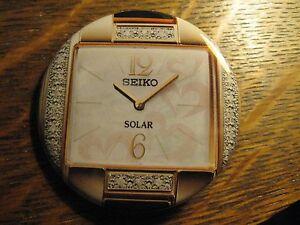 Seiko Solar Gold Diamond Japan Watch Logo Advertisement Pocket Lipstick Mirror