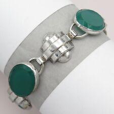 Vtg Art Deco Machine Age Modernist Chrysoprase Glass Sterling Silver Bracelet