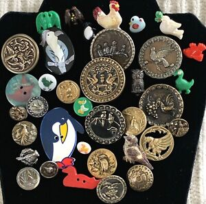 Lot of 36 Antique & Collectible Bird Buttons