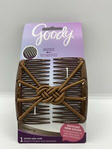 Goody Color Collection Updo Stretch Style Hair Clip Plastic Comb Elastic Brun