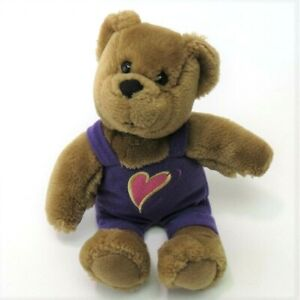 "Hallmark Teddy Kissing Bear Kiss and Hug 10"" Plush Purple Overalls Stuffed"