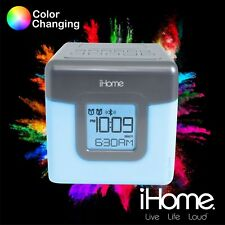 iHome iBT28 Bluetooth Speaker Color Changing Dual Alarm Clock FM Radio with USB