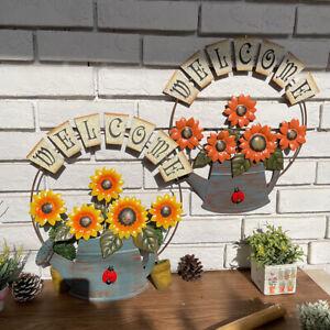 Iron Hanging Sunflower Welcome Sign Porch Garden Art Wall Ornament Home Decor