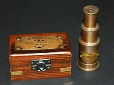 "Vintage brass maritime marine telescope 6"" spyglass scope with wooden box gift"