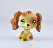 Littlest Pet Shop LPS Brwon White Cocker Spaniels Dog Green Eyes Girl toys