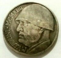20 LIRE 1943 - ITALY - BENITO MUSSOLINI - SOUVENIR COIN MADE OF SILVERED METAL