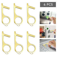 6x Brass Alloy Keychain Tool Non Touch Door Opener, Stylus Tool Keep Safety