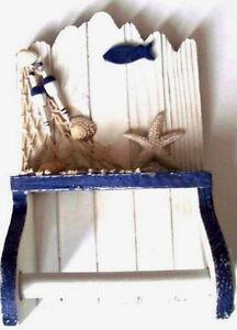 Nautical Blue White Beach Hut Bathroom Toilet Loo Roll Holder Fish