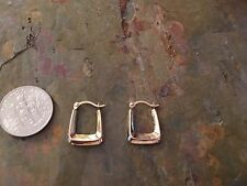 10 KT Yellow Gold Squared SMALL Hoop Earring PAIR Hollow New TINY
