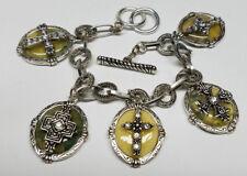 CROSS COLORED STONE Silver Black Charm Bracelet Fashion w/Toggle Lock Lady >NEW<
