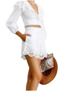ZiMMERMANN Bellitude linen/scalloped shorts ivory size 2