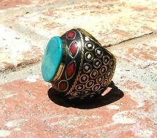 TURQUOISE CORAL BRASS RING NEPAL TRIBAL BELLY DANCE GYPSY BOHO W/ FREE SHIPPING