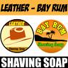 LEATHER SCENT & BAY RUM Mix Pack Shaving Soap 2 Pcs Set For Men - 100% Handmade