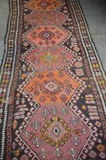 COLLECTORS' PIECE Antique Geometric Pattern Saffron Dye Caucasian Kazak Runner