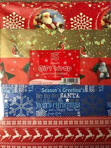 15 TRADITIONAL & CUTE MIX CHRISTMAS GIFT WRAP SHEETS- ASSORTED DESIGNS  WRAPPING