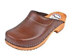 Wooden clogs  Brown color  F3  Leather          Men