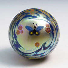 "LUNDBERG STUDIOS Art Glass Paperweight ""BLUE BUTTERFLY"" Irid. Green / Gold 1980"