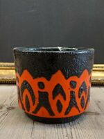 Beautifully Decorated Red & Black Mid Century West German Vase