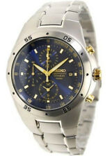 SEIKO Chronograph Titanium SND449 SND449P1 Men 2 Tone Blue Dial  Watch