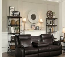 BROWN LEATHER GEL MATCH RECLINING MOTION SOFA LIVING ROOM FURNITURE SET