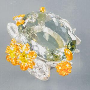 Fine Art Design 35 ct Green Amethyst Ring Silver 925 Sterling  Size 8 /R176414