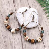Boho Round Circle Acrylic Beads Hoop Earrings Ethnic Jewelry Gifts Women Newly