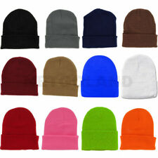 Solid Plain Beanie Hat Ski Cap Skull Knit Cuff Warm Slouchy Unisex Pick Colors*