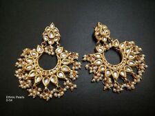 Indian Ethnic Gold Tone Kundan Women Earrings Party Chand Bali Jhumka set