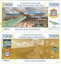 France / Netherlands Saint Martin 5000 Francs 2018 UNC Banknote KLM Jet Plane