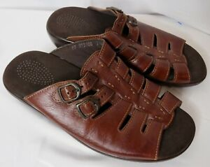 SAS Tango Tripad Comfort Brown Wedge Buckle Walking Slides Sandals Womens 9.5W