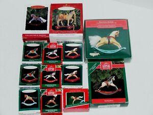 13 Hallmark Rocking Horse Christmas Keepsake Ornament Lot + Miniature Toy + Pony