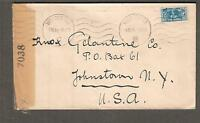 South Africa 1944 WWII examined 7038 NY censor cover Worcester to USA