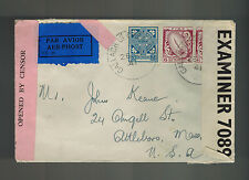 1941 Gallach Ireland Dual Censored Cover to Attleboro MA USA