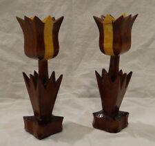 "2 WOODEN TULIP CANDLE HOLDERS Pair Multi Color Dark Light Wood Tullip Small 7"""