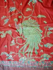 """2 VINTAGE 50S-60S COLORFUL  STAMPED PEACOCK FABRIC PANELS MEASURES 36"""" BY 110"""""""