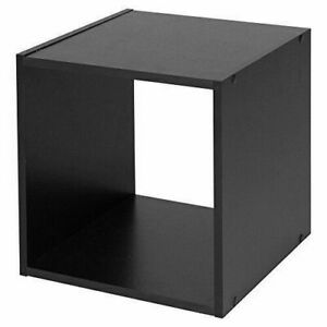 Small End Table Square Lounge Home Coffee Magazines Books Cube Wood Side Black