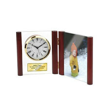 Hinged Glass Book Engraved Clock Wood Posts with Photo Frame 4x6 Picture Photo