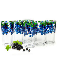 6 Tall Juice Glasses with Blackcurrant Berry Decal 8 fl oz ea Made in Russia
