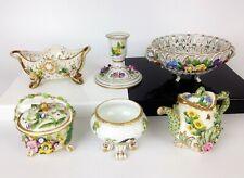 Lavoro LOTTO DI ANTICHI porcellana di Meissen Dresda-Vintage Insetto Bird Floreale Tedesco