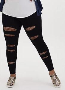 Torrid Women's Plus Size 6 30 Premium Legging Slashed Fishnet Underlay Black New