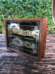 Vintage Woodglassics WINCHESTER Repeating Arms Etched Mirror Wood Vanity Box