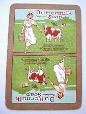 VINTAGE PLAYING CARD 1 SINGLE SWAP CARD WIDE MILKMAID & COW BUTTERMILK SOAP