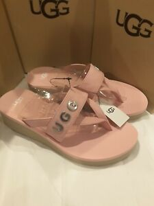 Ugg Australia Pink Luna Logo Charm Flip Flop Slide Sandals Women's size 10