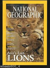 National Geographic June 2001 Chile Caves Marco Polo II Asiatic Lions Wales Ariz