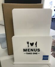 American Express Restaurant To Go Menu Holder, White New