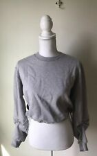 3.1 Phillip Lim Sweatshirt Women's Size XS Gray Melange Cropped Drawstrings ring