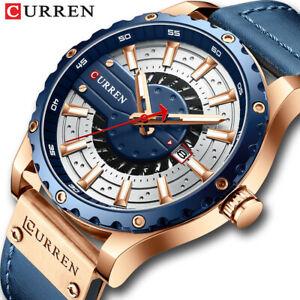 CURREN Men Leather Watch Casual Male Quartz Watches Fashion Calendar Wristwatch